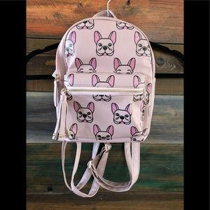 French Bulldog themed mini backpack in Blush color